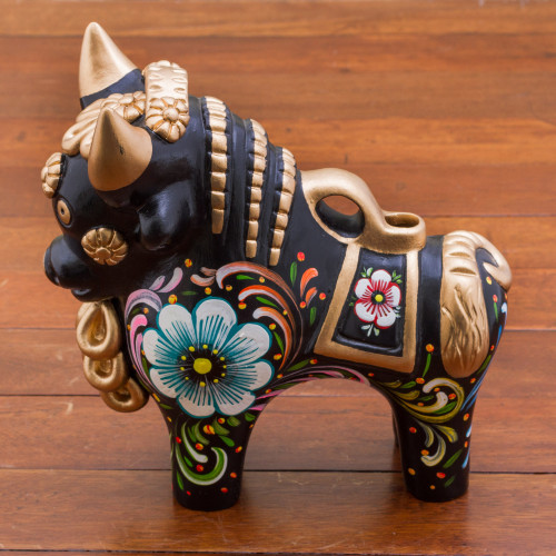 Painted Floral Metallic and Black Ceramic Bull from Peru 'Big Black Pucara Bull'