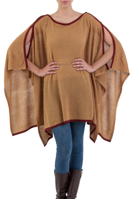 Alpaca Wool Blend Neutral Peruvian Poncho in Camel 'Grace and Flow'