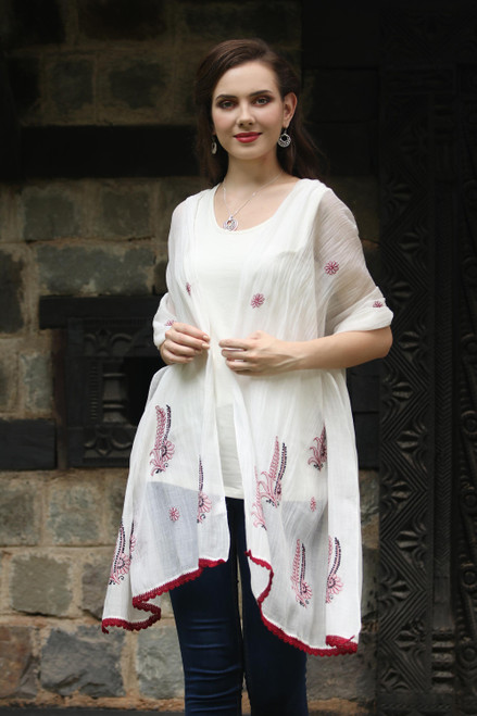 Cotton and Silk Shawl in Champagne and Wine from India 'Chikan Flowers in Wine'