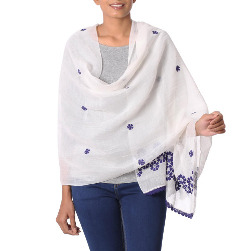 Cotton and Silk Shawl in Champagne and Indigo from India 'Chikan Flowers in Indigo'