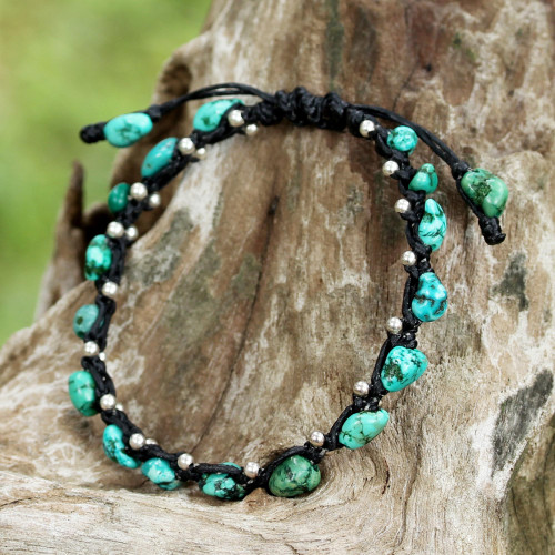 Thai Jewelry Braided Bracelet Turquoise Color 925 Silver 'Turquoise Bohemian'