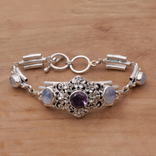 Amethyst and Rainbow Moonstone Floral Bracelet from Bali 'Jepun Goddess'
