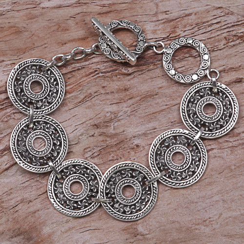 Hand Made 925 Sterling Silver Link Bracelet Indonesia 'Jepun Coin'