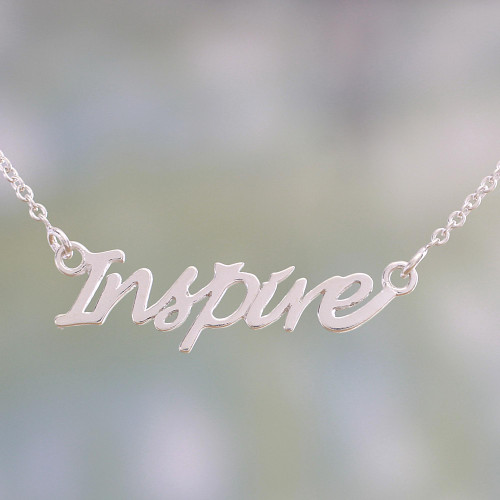 Sterling Silver Pendant Necklace with Inspire Charm 'Dare to Inspire'