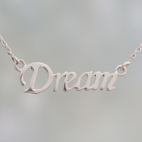 Handcrafted Inspirational Sterling Silver Pendant Necklace 'Live Your Dream'