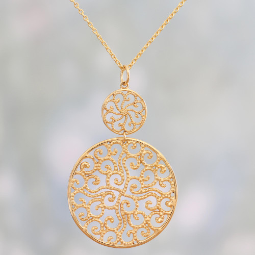 Gold Plated Sterling Silver Pendant Necklace from India 'Golden Waves'