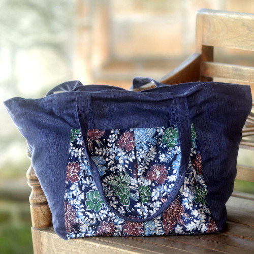 Handmade Navy Cotton Batik Tote Bag from Indonesia 'Gleeful Garden'