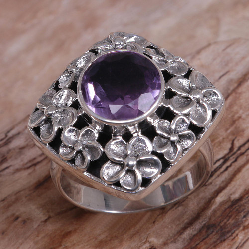 Hand Made Amethyst and Sterling Silver Floral Cocktail Ring 'Jepun Shrine'