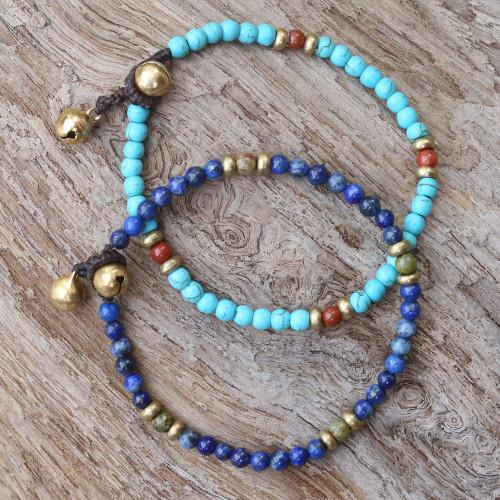 Two Jasper and Unakite Multi-Gem Beaded Bracelets 'Fantastic Blue'