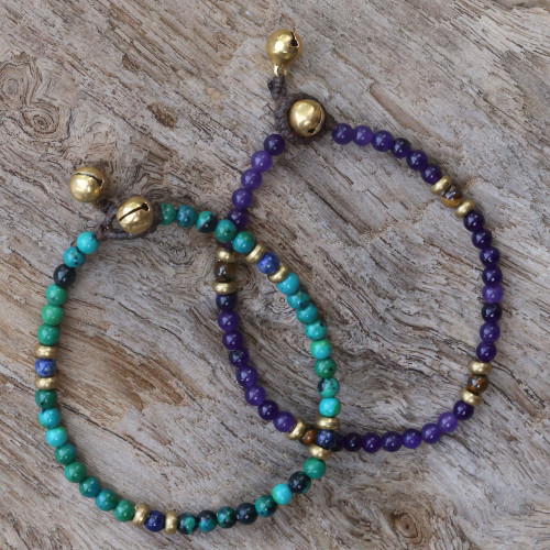 Two Serpentine and Tiger's Eye Multigem Beaded Bracelets 'Magical Earth'