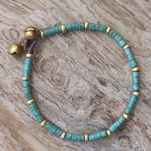 Brass and Reconstituted Turquoise Thai Beaded Bracelet 'Temple of Love'