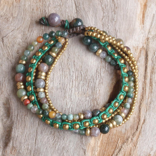 Brass and Agate Multi-Strand Beaded Bracelet from Thailand 'Summer Earth'