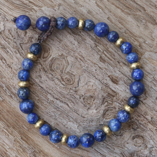 Lapis Lazuli and Brass Beaded Bracelet from Thailand 'Beautiful Thai in Blue'