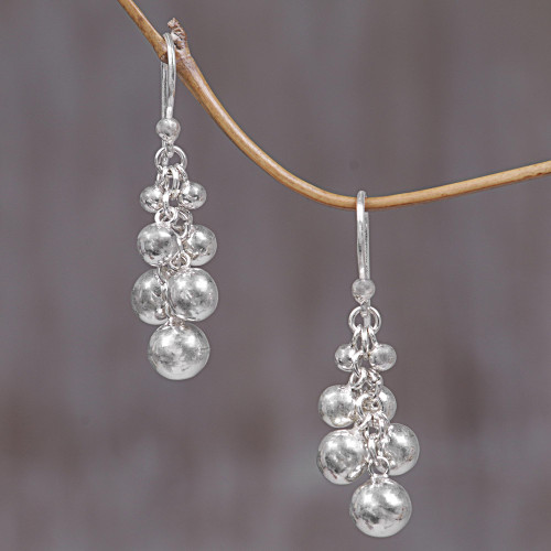 Sterling Silver Cluster Earrings from Indonesia 'Silver Grapes'
