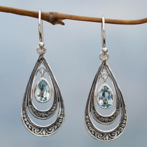 Blue Topaz Teardrop Dangle Earrings from Indonesia 'Gleaming Teardrops in Blue'