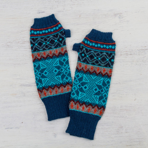 100 Alpaca Fingerless Gloves in Azure and Smoke from Peru 'Andean Snowfall'
