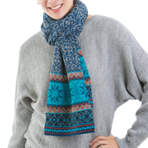 100 Alpaca Wrap Scarf in Azure and Smoke from Peru 'Andean Snowfall'