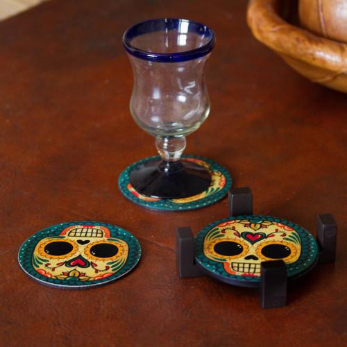 4 Day of the Dead Smiling Skulls Decoupage Wood Coaster Set 'Loving Skull'