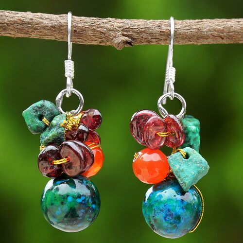 Beaded Dangle Earrings with Garnet and Carnelian 'Tropical Oasis'