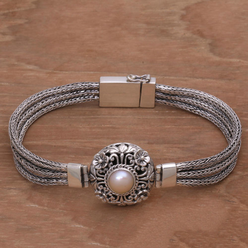 925 Silver and Cultured Pearl Balinese Floral Bracelet 'Floral Nobility'
