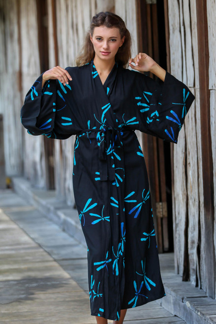Handcrafted Black Batik Robe with Dragonflies from Bali 'Night Dragonflies'