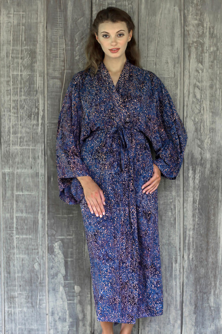 Handcrafted Blue  Peach Batik Rayon Robe from Indonesia 'Bewildering Maze'