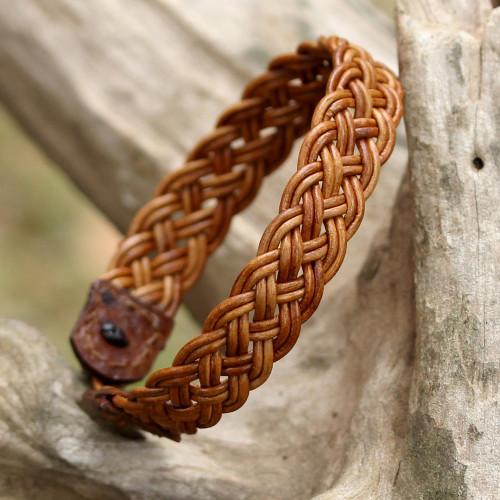 Light Brown Leather Braided Bracelet from Thailand 'Braided Paths in Light Brown'