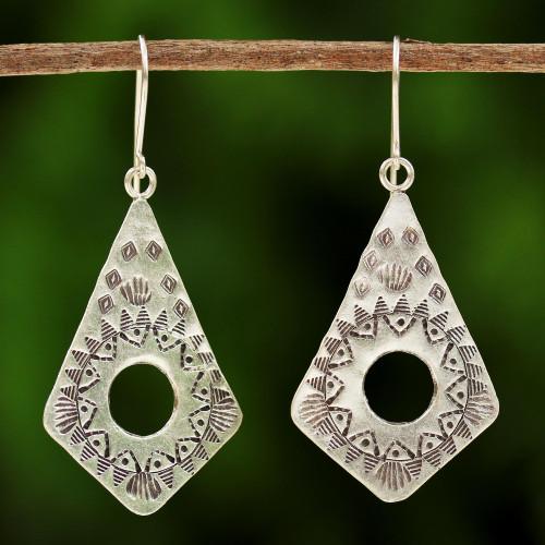 Handmade Hill Tribe Silver Dangle Earrings from Thailand 'Thai Promise'