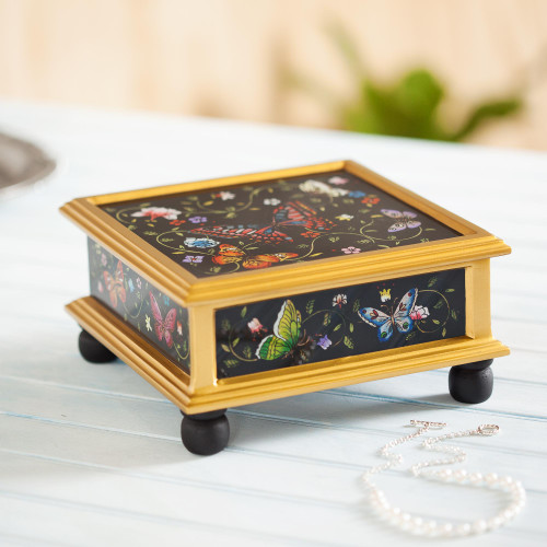 Black Reverse-Painted Glass Decorative Box with Butterflies 'Midnight Garden'