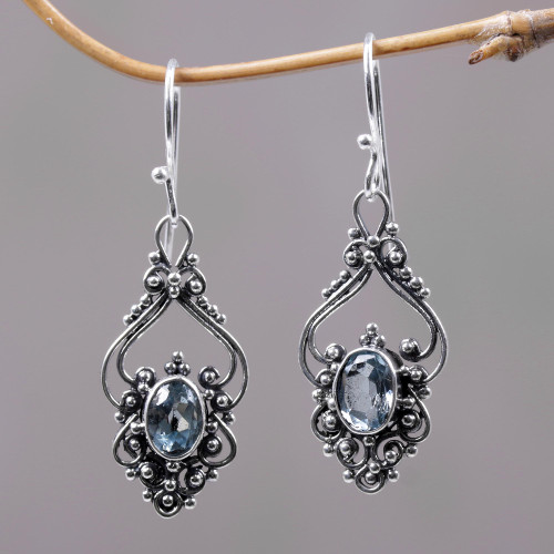 Bali Artisan Jewelry Blue Topaz Sterling Silver Earrings 'Sigh'