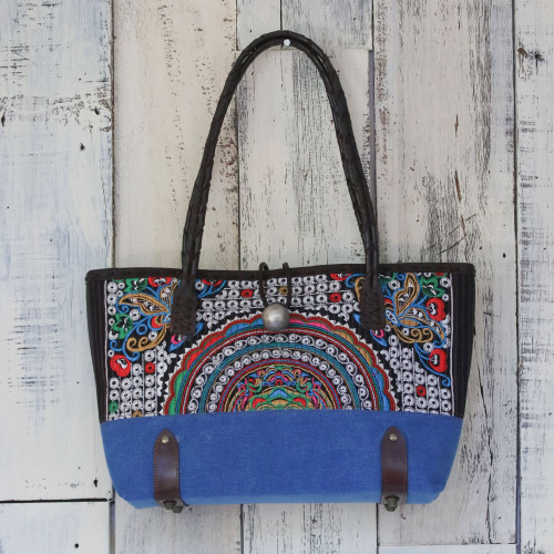 Leather Accent Cotton Blend Shoulder Bag in Royal Blue 'Rainbow Sunrise in Royal Blue'