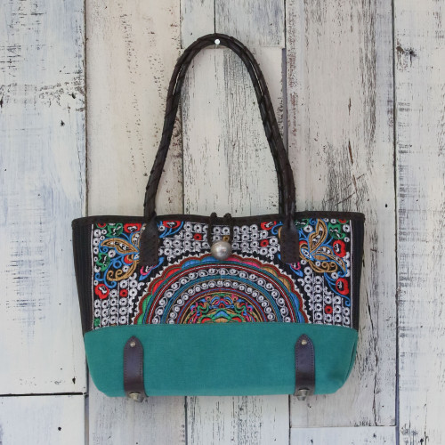 Leather Accent Cotton Blend Thai Shoulder Bag in Emerald 'Rainbow Sunrise in Emerald'