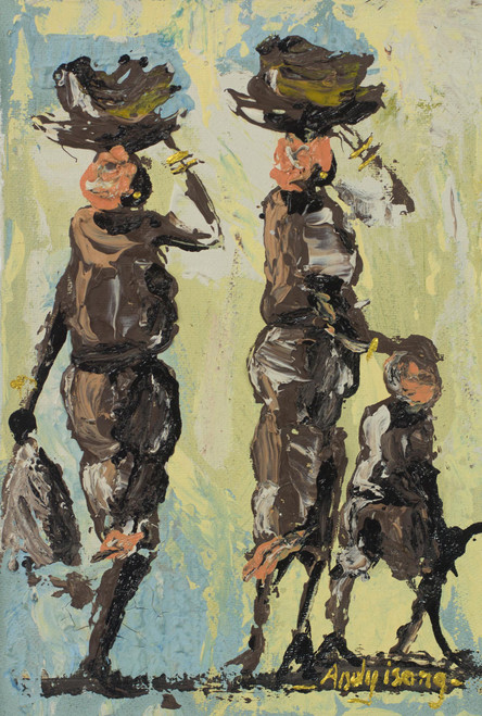 Impressionist Painting of African People from Ghana 'To the Market'