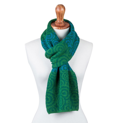 100 Alpaca Scarf Patterned in Green and Blue Knit in Peru 'Melody of Viridian and Blue'