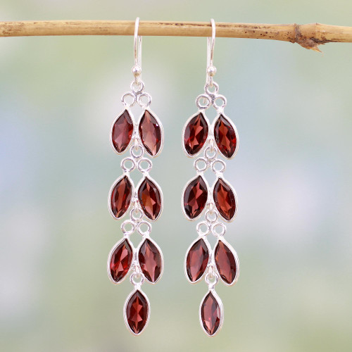 Garnet and Sterling Silver Dangle Earrings from India 'Sparkling Red Leaves'