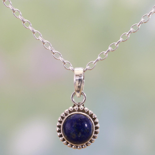 Lapiz Lazuli and Sterling Silver Pendant Necklace from India 'Blue Globe'