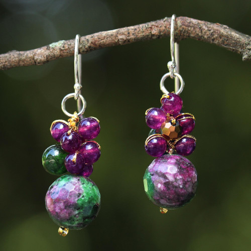 Quartz Beaded Earrings with Sterling Silver Hooks 'Luscious Fruit'