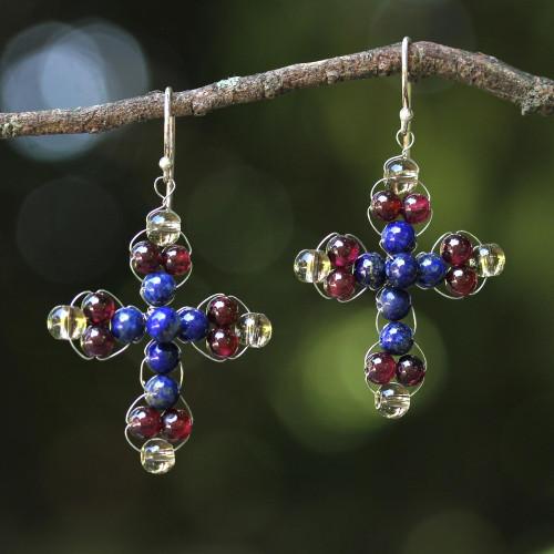 Garnet and Lapis Lazuli Cross Earrings from Thailand 'Cross of Hope'