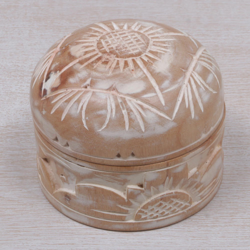 Hand Carved Floral Mahogany Decorative Box from Bali 'Bougainvillea Bloom'