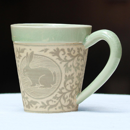 Celadon Glazed Ceramic Mug with Rabbit from Thailand 'Thai Zodiac Rabbit'