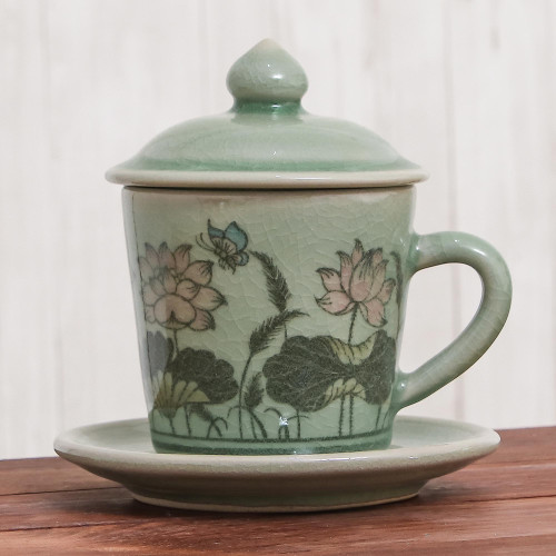 Celadon Glazed Ceramic Floral Cup and Saucer from Thailand 'Lanna Luxury'