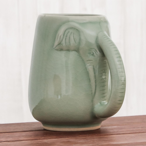 Ceramic Celadon Elephant Mug in Green from Thailand 'Morning Elephant in Green'
