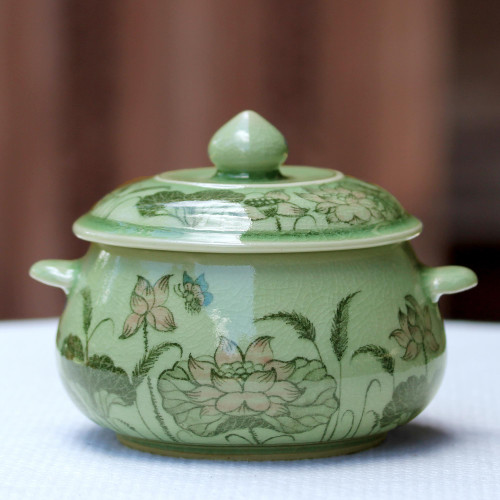 Celadon Ceramic Floral Soup Bowl with Lid from Thailand 'Lotus Bouquet'