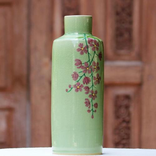 Hand Crafted Celadon Ceramic Floral Vase from Thailand 'Around the Garden'