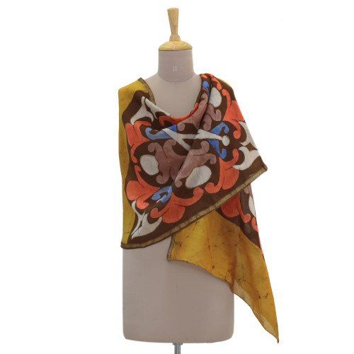 Multicolored Batik Cotton and Silk Blend Shawl from India 'Kaleidoscope Memories'