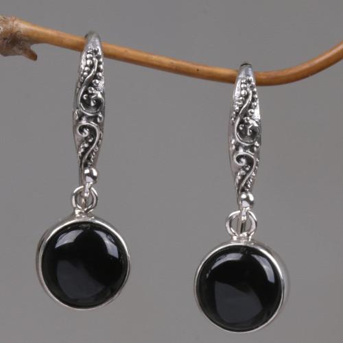 Black Onyx Sterling Silver Earrings Handcrafted in Bali 'Purity of Moonlight'