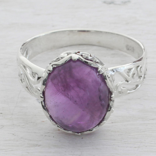 Amethyst and Sterling Silver Cocktail Ring from India 'Lilac Ecstasy'