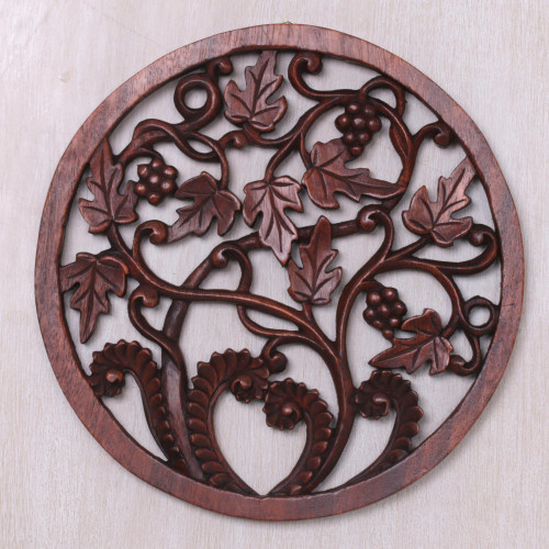 Vineyard Detailed Hand Carved Wood Round Relief Wall Panel 'Vineyard Medallion'
