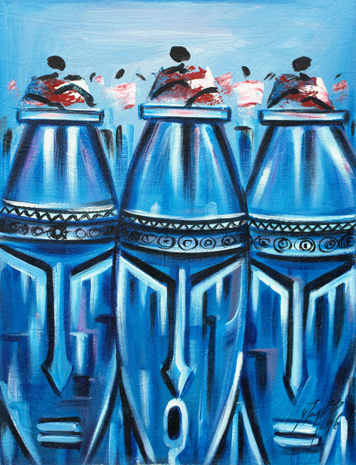 Signed Expressionist Painting of Blue Face Drums from Ghana 'Fontomfrom I'