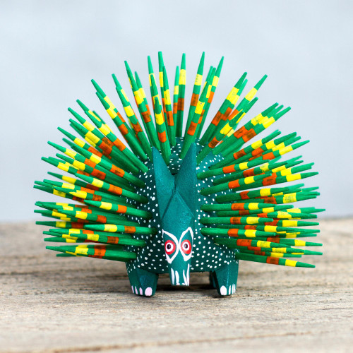 Copal Wood and Maguey Mexican Porcupine Sculpture in Green 'Cute Porcupine in Green'
